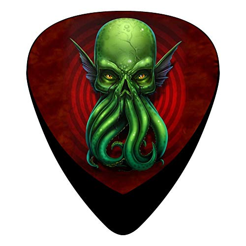 Mse Grip - Celluloid Guitar Picks Holders Plectrum For Bass Guitar,Best Gift For Guitarist,Print Cthulhu Skull,12 Pack