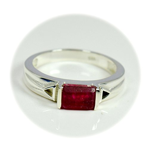 55Carat Real Indian Ruby Silver Ring Emerald Cut Birthstone Handmade Size 5,6,7,8,9,10,11,12 Bar ()