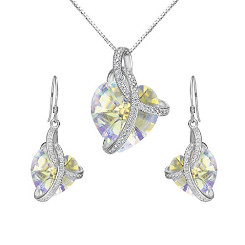 EleQueen 925 Sterling Silver CZ Courageous Heart Inspired Pendant Necklace Hook Earrings Set Made with Swarovski Crystals