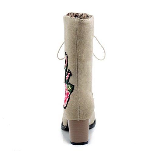 AllhqFashion Damen Mittler Absatz Rein Schnüren Leopard Wolle Rund Zehe Stiefel Cremefarben