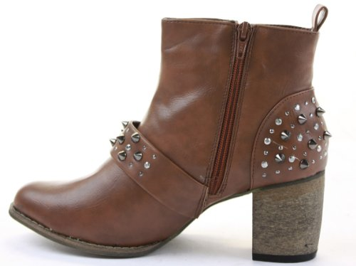 Shoes Womens 8 Size Boots 3 Ankle Heels Booties Low Medium Cowboy Brown Ignx1gBqw7