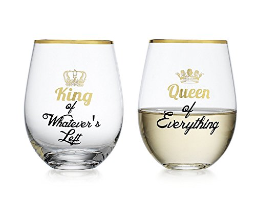 Elegant Home Personalized Gift Set of Two 19 Oz. Queen & King Stemless Wine Glass - unique Novelty - Gag Gift.