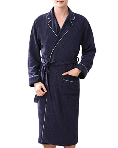 Blu Maniche Accappatoio Notte Lunghe Camicia In A Comodo Abbigliamento Uomo Pigiama Cotone Da Casa Inverno Autunno qH1Zp6