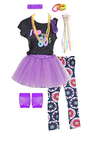 Girls 80s T-Shirt Costume Outfit Accessories Headwear Skirt