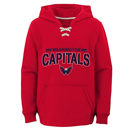 NHL Washington Capitals Youth Boys Standard Issue Fleece Hoodie, Small(8), Red
