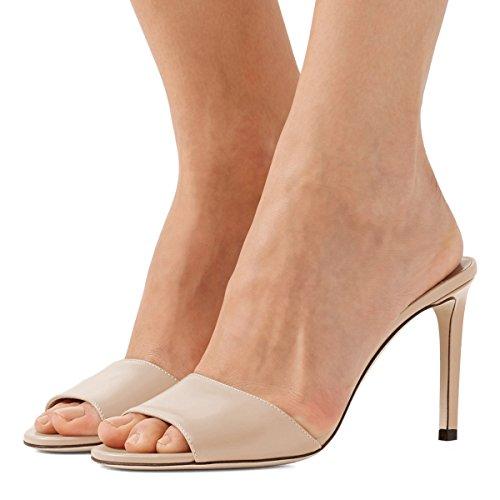 Evening Stiletto Heels Women 15 High Sandals Beige Shoes US Party Mule Toe Casual Size Classic Peep 4 FSJ vwY1q8Y