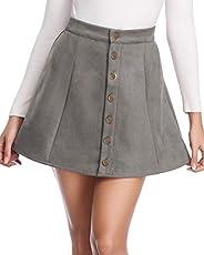 fuinloth Women's Faux Suede Skirt Button Closure A-Line High Wasit Mini Short Skirt