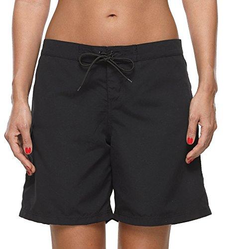 ATTRACO Womens 9 inch Board Short Solid Stretch Drawstring Pocket Swim Trunks