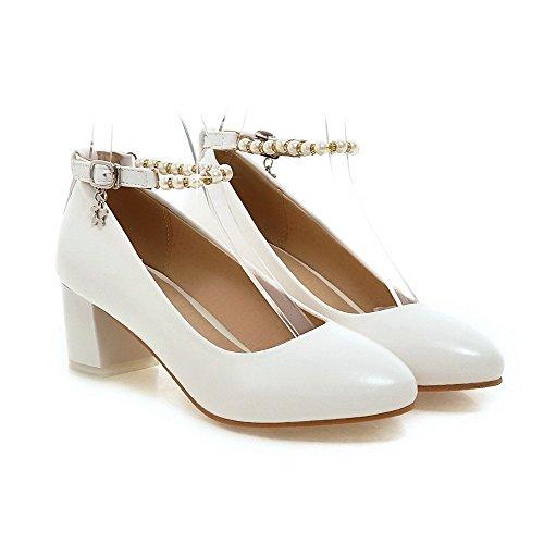 Amoonyfashion Donna Fibbia Rotonda Punta Chiusa Gattino Tacchi Pu Pompe-scarpe Solido Bianco