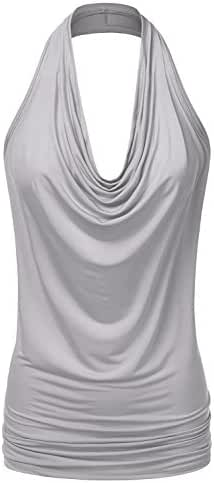 NINEXIS Women's Halter Neck Draped Front Open Back Top S-3XL (12 Colors)