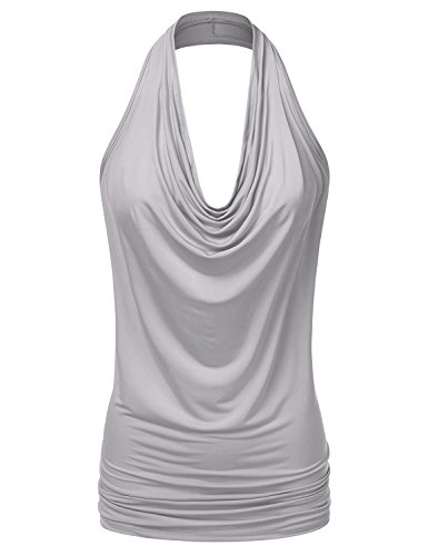 Halter Neckline Sleeveless - Doublju Womens Sleeveless Sexy Halter Drape Cowl Neck Top with Plus Size Silver 3XL
