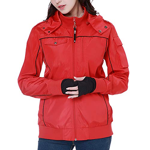 BOMBAX Women Travel Jacket 10 Pocket Flight Bomber Windbreaker Coats Outwear Red - Microfiber Travel Blazer