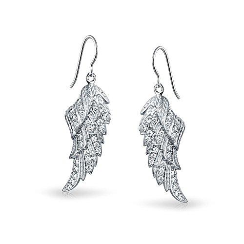 Bling Jewelry Sterling Silver Angel Wings Dangle Earrings
