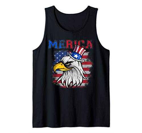 (July 4th American Eagle, Uncle Sam Hat and American Flag Tank Top)
