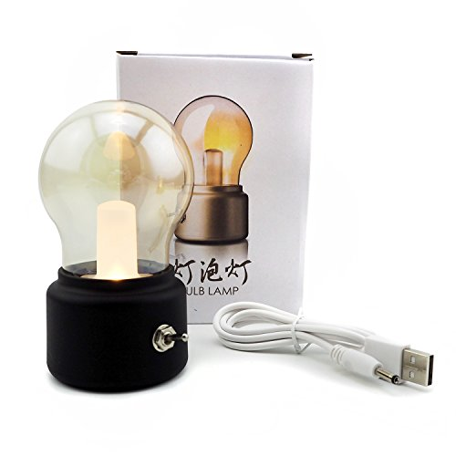 Small Glass Bulb Table Lamps Night Light Decorative Lamp for Baby Children (Bulb Black)