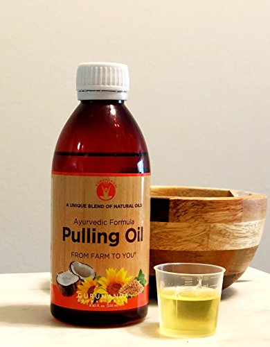 GuruNanda Oil Pulling Oil, Natural Mouthwash, Ayurvedic Blend of Coconut, Sesame, Sunflower, Peppermint Oils. A Refreshing Oral Rinse - Helps Bad Breath, Healthy Gums + Whitens Teeth. (8.45 fl. oz). by GuruNanda (Image #1)
