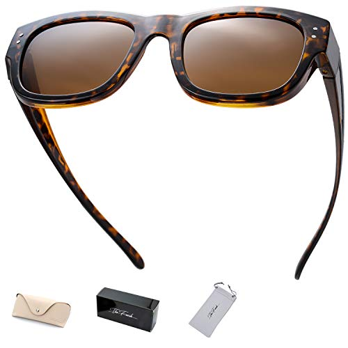 The Fresh High Definition Polarized Wrap Around Shield Sunglasses for Prescription Glasses - Gift Box Package (603-Tortoise, Brown) ()