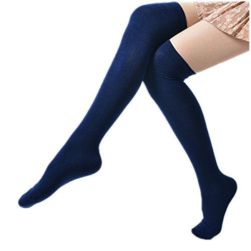 Yougao Women's Dresses Winter Over Knee Leg Warmer Knit Crochet Socks Leggings One Size Royal Blue (Royal Blue Fishnet Tights)