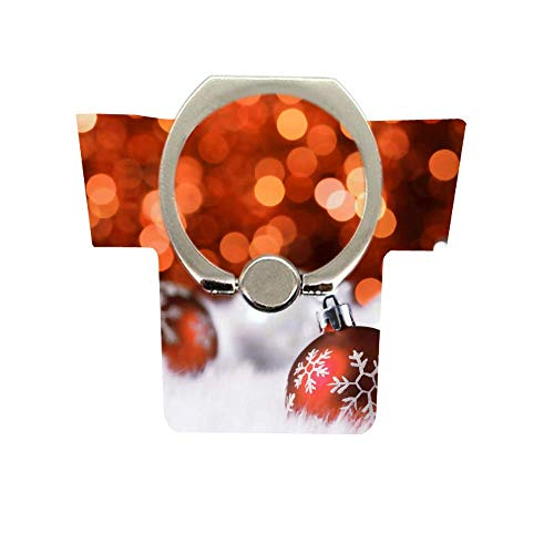 Phone Christmas Pattern Ring, Cell Phone Ring Holder 360 Degree Rotation Ring Stand Kickstand Compatible Various Mobile Phones or Phone Cases Christmas Decorative Ball Red Background