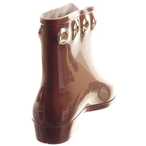Sopily - Chaussure Mode Bottine Bottes de Pluie Montante femmes Métallique Talon bloc 2.5 CM - Marron