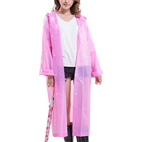 Zhhlinyuan Outdoor Portable EVA Hooded Rainwear Unisex Lightweight Waterproof Raincoat Pink