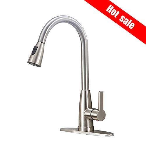 - Friho Modern Commercial Lead-Free Stainless Steel Single Lever Handle High Arc Pull Down Sprayer Kitchen Sink Faucet,Brushed Nickel Pull Out Kitchen Faucets With Deck Plate