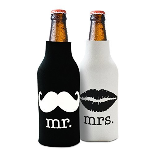 Mr. and Mrs Front and Back Printed Wedding, Anniversary, Newlywed, Bridal Shower Bottle Cooler Gift Set - Gift for Bride, Mom, Women Her- Christmas Stocking Stuffer for Couples - Set of 2