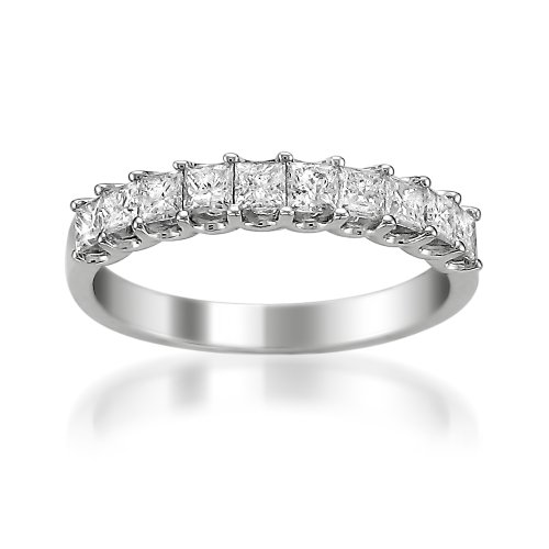 Platinum Princess-cut Diamond Bridal Wedding Band Ring (1 Cttw, H-I, VS2-SI1)