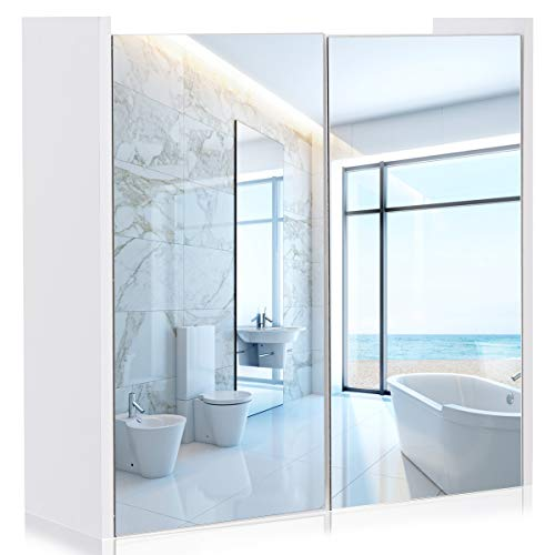 Tangkula Mirrored Bathroom Cabinet Wall Mount Storage Organizer Medicine Cabinet with Double Doors White(25