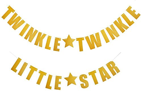 Twinkle Twinkle Little Star Gold Glitter Banner, Ideal Flags And Signs For Baby Shower Or First Birthday Party Decoration