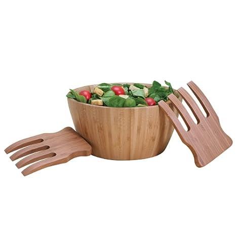 Amazon Com Natural Living Bamboo Salad Bowl And Server Set Kitchen