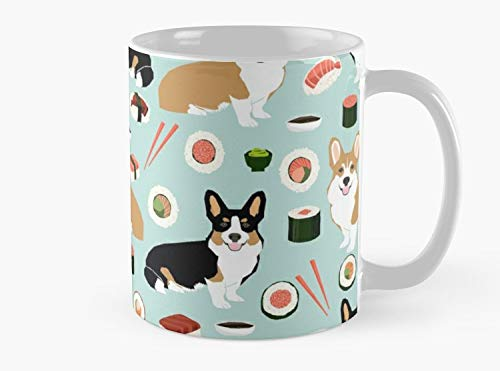 Corgi welsh corgi sushi food dog gifts dog breeds by pet friendly Mug, Standard Mug Mug Coffee Mug - 11 oz Premium Quality printed coffee mug - Unique Gifting ideas for Friend/coworker/loved ones ()