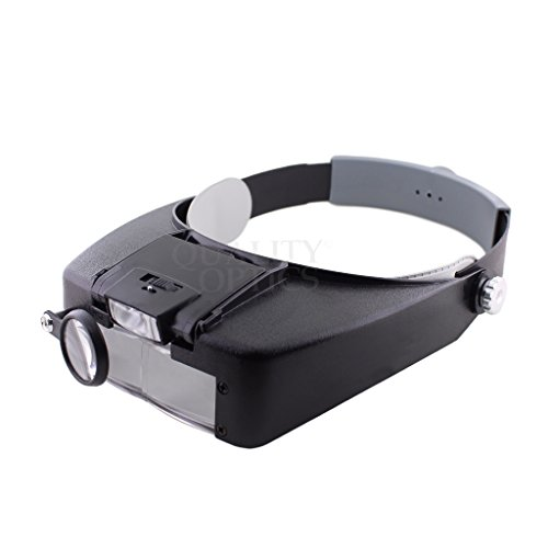 Quality Optics Headlamp Magnifier 8.5x LED Illuminated Headband For Precision Work, and Reading (Black)