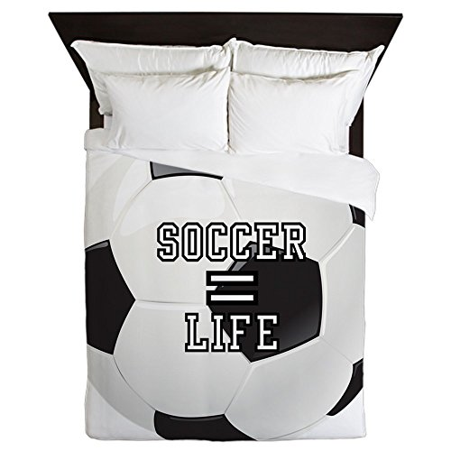 Queen Duvet Cover Soccer Football Futbol Equals Life by Royal Lion
