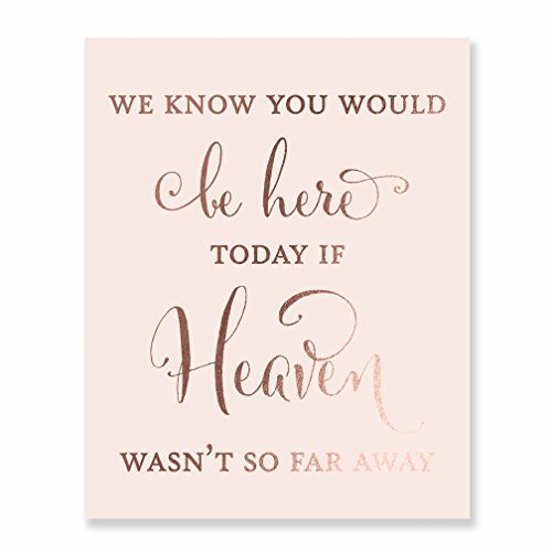 Wedding Memorial Rose Gold Foil Art Print Pink Poster Family Remembrance Sign Quote Metallic Decor 8 inches x 10 inches D30