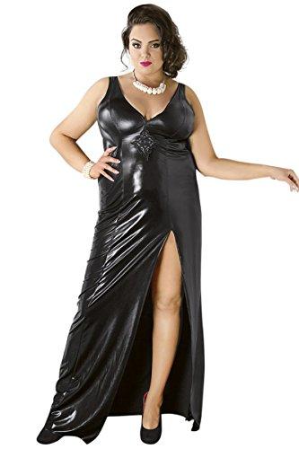 Schwarzes wetlook Kleid elastisch XXL Dessous Kleid glänzend Plus Size mit Gehschlitz