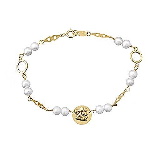 Bracelet 18k perles de 4.5mm d'or. cultivée 1er plaque de communion [AA6632]