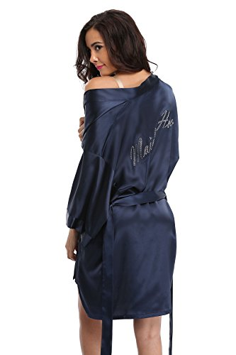 Vogue Bridal Women's Satin Rhinestone Short Wedding Kimono Robe for Maid of Honor, Navy XL]()