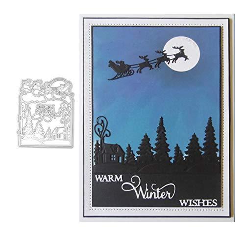 StaunchWea Cutting Dies, Sleigh Tree Dies Cut, Metal Stencil for Scrapbooking, Album Embossing, Greeting Card, Birthdays Card DIY Making Silver
