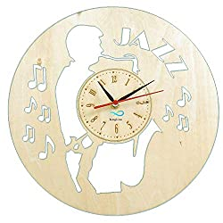 Wood Wall Clock Music Jazz Saxophone Player Home Interior Living Room Bedroom Office Recording Studio Decor Gift for Him Musicians Father Friend