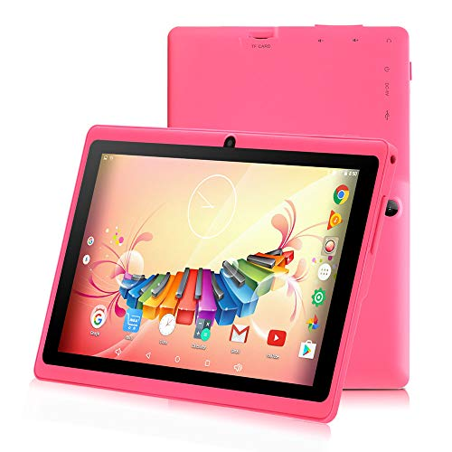 7 inch Tablet with WiFi, HD Display with Eye Protection Screen 1G/8G, ZONKO Android 8.1 Quad Core 1024x600 Dual Camera with Wi-Fi Bluetooth Tablet, Pink (Best Camera For Android Tablet)