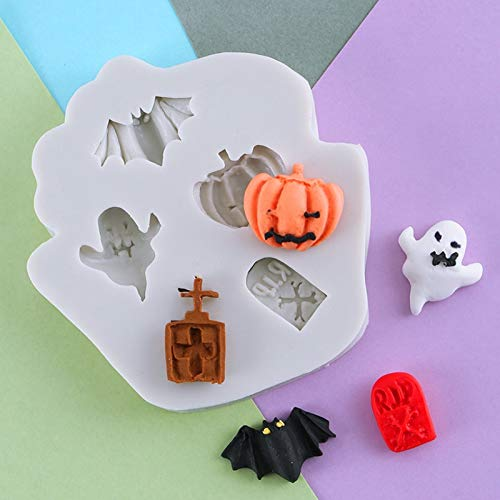 (1 piece Halloween Ghost Tombstone Silicone Mold Fondant Mould Cake Decorating Tool Chocolate Gumpastes Mold Sugarcraft Kitchen Gadget)