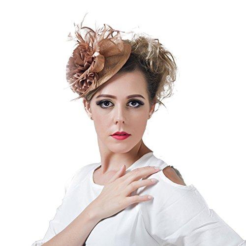 BAOBAO Elegant Women Sinamay Fascinator Feather Net Veils Hair Clip Derby Hat Headwear