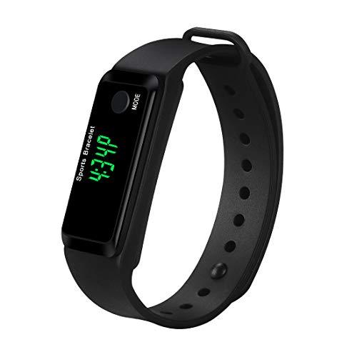 Coch Pedometer Watch, Simply Operation Luminous Walking Running Pedometer Calorie Burning Steps Counting Men Women Kids (Black)