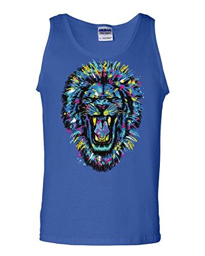 Tee Hunt Paint Splatter Roaring Lion Tank Top King Big Cat Animal Wildlife Sleeveless Blue L
