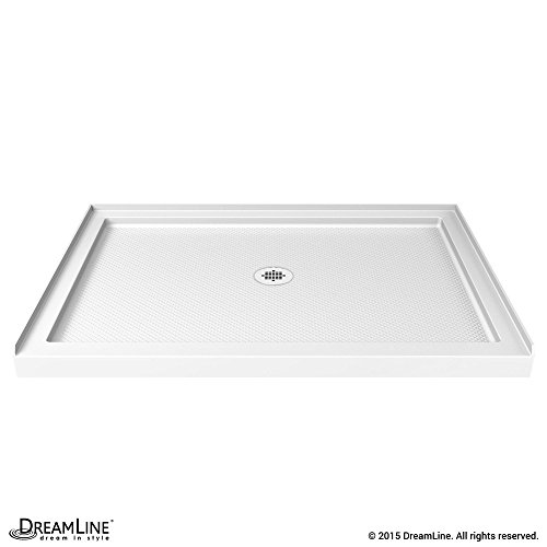 (DreamLine SlimLine 36 in. D x 48 in. W x 2 3/4 in. H Center Drain Single Threshold Shower Base in White)