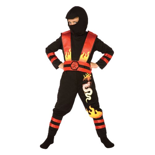Fire Ninja Costume (Living Fictions Costume Fire Dragon Ninja (Sz. 8-10) Black Red)
