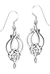 .925 Sterling Silver Unique Celtic Knot French Wire Earrings