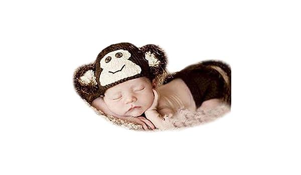 667e196191d Amazon.com  CX-Queen Baby Photography Prop Crochet Knit Monkey Hat Beanie  Pants Set  Clothing