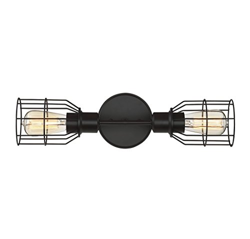 Trade Winds Lighting 2-Light Industrial Wall Sconce in Oil Rubbed (Bronze 2 Light Sconce)